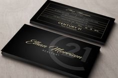 simple design dark business card with new century 21 logo