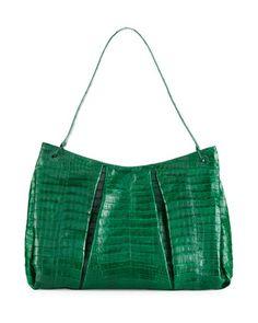 d93c69238f9d Crocodile Large Pleated Tote Bag Deep Green. Весення Коллекция ...