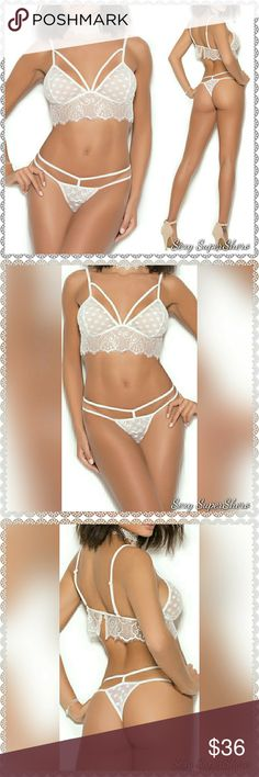 🆕White Mesh Polka Bralette & Thong Lingerie Set This sexy white mesh polka dot bralette with a back hook features eyelash lace detail and adjustable shoulder straps & is perfect for the bedroom And even for wearing under loose shirts with open sides/muscle tees 😍. Matching thong with double strap design included. Accessories not included  Size(s): S,M,L,XL (see size chart pic above)  Color(s): White  Material(s): 95% Nylon, 5% Spandex  💰BUNDLE to Save 📦 Ships in 1-2 Business Days Sexy…