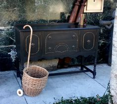 Items similar to Antique Solid Wood Black Buffet hand painted with chalk paint, Sideboard, Credenza with Gold Trim, Distressed, Cottage Style on Etsy French Sideboard, Sideboard Table, Black Sideboard, Dining Room Buffet, Buffet Tables, Ottoman Furniture, Solid Wood Furniture, Vintage Furniture, Refinished Furniture