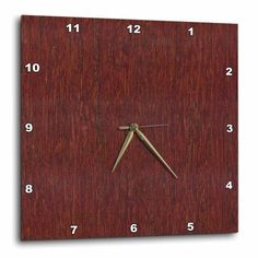 3dRose Bamboo Cherry Wood, Wall Clock, 10 by 10-inch