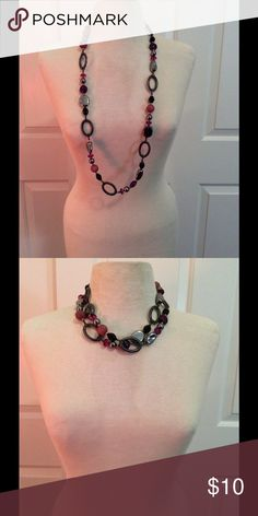"""Premier necklace hold for bundle @sharon0419 Premier Designs necklace Hematite plated, acrylics/beads. 36"""" Necklace +4"""" extender with lobster claw closure. You can wear this necklace long or double to shorten as shown in photo. EUC Jewelry Necklaces"""