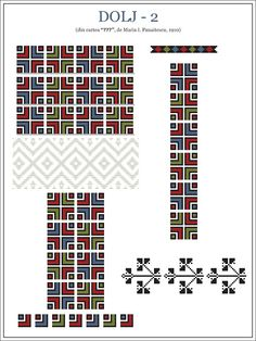 Semne Cusute: OLTENIA - model de ie din Dolj Folk Embroidery, Embroidery Patterns, Cross Stitch Patterns, Knitting Patterns, Traditional Art, Traditional Outfits, Popular Costumes, Embroidery Techniques, Beading Patterns
