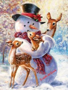 Christmas Scenery, Christmas Animals, Vintage Christmas Cards, Christmas Pictures, Christmas Snowman, Christmas Crafts, Merry Christmas, Christmas Decorations, Christmas Ornaments