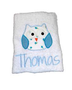 owl embroiderd applique towel