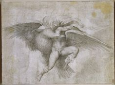 """The Rape of Ganymede"" by Michelangelo, 1533 in Rome, Italy. Style was High Renaissance and the medium is Chalk. Currently at Fogg Art Museum in Cambridge MA. Michelangelo, La Pieta, Sistine Chapel Ceiling, Italian Sculptors, Sculptures, Lion Sculpture, Roman Gods, High Renaissance, Chalk Drawings"