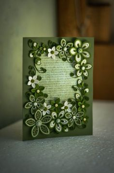*QUILLING ~ Green Greeting card for any occasion ornate with flowers Neli Quilling, Paper Quilling Cards, Paper Quilling Flowers, Paper Quilling Tutorial, Quilling Work, Paper Quilling Patterns, Origami And Quilling, Quilled Paper Art, Quilling Paper Craft