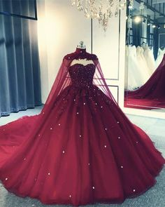 Tulle Ball Gown Wedding Dress With Cape,prom dress Red Ball Gowns, Tulle Ball Gown, Ball Gowns Prom, Ball Gown Dresses, 15 Dresses, Royal Ball Gowns, Dresses With Capes, Corset Dresses, Red Gowns