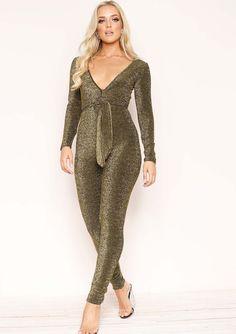 8788948e3d63ce Georgina Gold Glitter Tie Front Jumpsuit