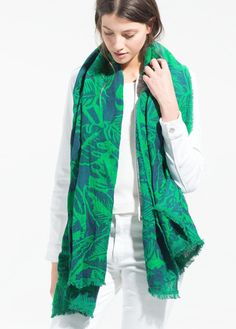 Morpheus Boutique  - Green Floral Pattern Raw Edge Trims Cotton Shawl Long Scarf Wrap, $39.99 (http://www.morpheusboutique.com/new-arrivals/green-floral-pattern-raw-edge-trims-cotton-shawl-long-scarf-wrap/)