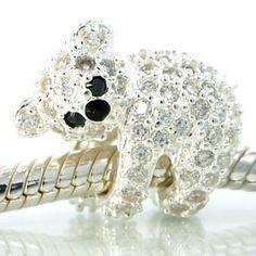 Koala Bear White Swarovski Encrusted Crystals Bead Charm, 925 Sterling Silver Core, fits Troll, Biagi, European Bracelet. pulsera perlas swarovski joyeria necklace bracelet pearls crystal jewelry   iphone 6 iphone 7 samsung galaxy  acesories women bear tous osito bvlgari http://iaguirreb.wix.com/deperlas#!blank-2/c1ger