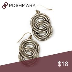 """Gale Earrings Channel your inner brilliance with these elegant channels of shimmering clear cut crystals set in antique gold interlocking rings. These statement earrings are a bold symbol of timeless elegance. 1 1/2"""" drop earrings. New with tags! Jewelry Earrings"""