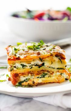 This gluten-free veggie lasagna  recipe from WendyPolisi.com is easy to make and so delicious! This easy vegetable lasagna recipe is one the whole family will love. #glutenfreelasagna #veggielasagna #glutenfree