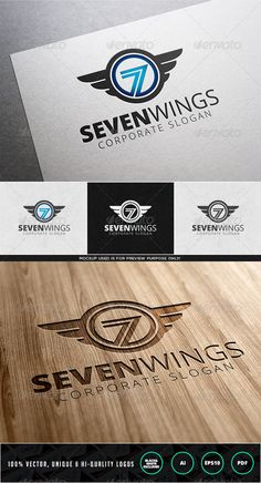 Seven Wings	  Logo Design Template Vector #logotype Download it here: http://graphicriver.net/item/seven-wings-logo-template/7972708?s_rank=190?ref=nexion