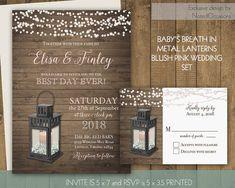 Lantern Wedding Invitations Set Rustic Country Wedding Invitation Babys  Breath Floral Barn Wood Lantern Wedding Digital Printable Template