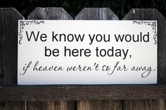 In memory of family Wedding Sign We know you would be here today if Heaven weren't so far away. :'(