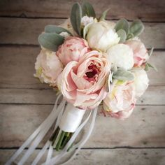 At peak in our studio today - blush and ivory roses and peonies with a splash of lamb's ear! By Kate Said Yes Weddings, www.katesaidyes.etsy.com