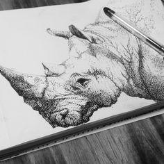 Pointilism - rhinoceros