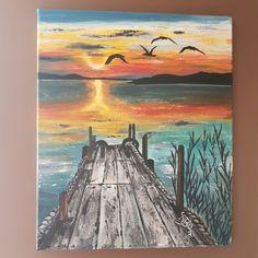 A. Brunello, peinture acrylique, ponton, coucher de soleil, www.tableaux-brunello.e-monsite.com