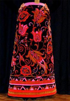 Vtg DYNASTY Paisley BOHO Luxurious MaXi VELVET Quilted SKIRT*Made in Hong Kong*M #Dynastylabelhadbeenremoved