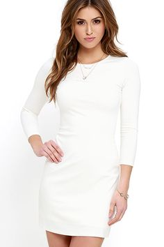 The best dress in your closet this season will definitely be the Perfectly Posh Ivory Long Sleeve Dress! This sleek, medium-weight knit dress will pair with all of your favorite shoes and accessories, with its classic rounded neckline and long, fitted sleeves. Darting adds shape to the bodice atop a darling A-line silhouette. Hidden back zipper.