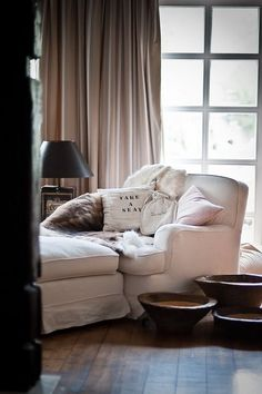 White Wing Chair in Rustic Country Interior