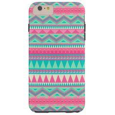 Colorful Aztec Chevron Zig Zag Stripe Pattern Tough iPhone 6 Plus Case