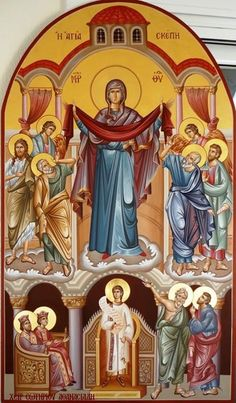 Today the Virgin stands before us in the church. Byzantine Icons, Byzantine Art, Religious Icons, Religious Art, Writing Icon, Church Icon, Jesus Art, Orthodox Icons, Blessed