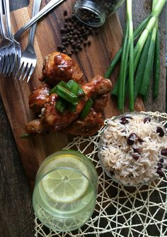 Jerk chicken, rice and peas, food photography, food blogger