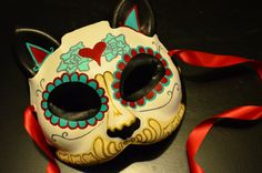 Heart my Kitty Day of the Dead Cat Mask Dia De by HikariDesign