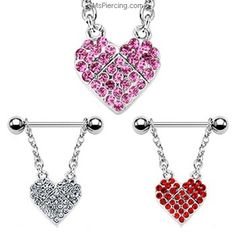 A Pair of Nipple Ring with Hollow Pave Gemmed Heart Flowers