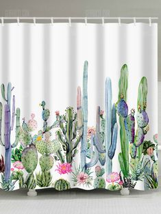 Just 1191 buy Watercolor Painting Cactus Print Shower Curtain online shopping at Mobile Decor, Cheap Shower Curtains, Floral Shower Curtains, Bathroom Curtains, Curtains, Shower Curtain, Cactus Decor, Cactus Print, Flower Prints