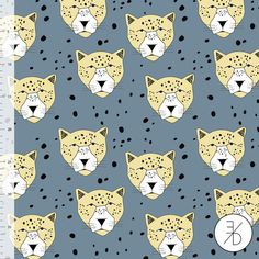 NEW !!! NEW!!! NEW!!! This fabric is sold by the 1/2 yard. For 1 yard please kindly select a quantity of 2. Your order will be cut continuously. All orders up to 2 yards are shipped via USPS First Class Mail. All orders 3 yards and above are shipped via USPS Priority Mail.  LEOPARD BLUE Organic Jersey by ELVELYCKAN DESIGN    All Elvelyckan Design Jersey fabrics are fine, and smooth knit with a distinct right side and reverse side. This fabric has beautiful color reproduction and is ideal...