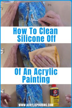 Learn how to cleanly wipe off that silicone in acrylic pouring. via Acrylic Pouring tutorials from A Acrylic Painting Tips, Using Acrylic Paint, Pour Painting, Watercolor Tips, Acrylic Canvas, Painting Canvas, Painting Tutorials, Acrylic Pouring Techniques, Acrylic Pouring Art