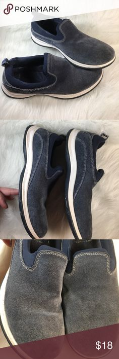 Land's End Slate Blue Brushed Suede 7 1/2 B Super soft, molds to your feet. Pull tab in back. Very cushioned. No stains, rips, tears or holes. White is still bright white. Sole looks hardly worn. Non smoking home Lands' End Shoes