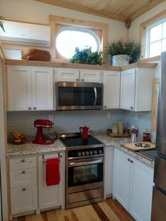 "Hummingbird Tiny Housing ""Royal Iris"". Gorgeous generous kitchen. #tinyhouseinterior"