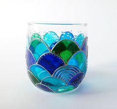 Mermaid Glass Candle Holder Tealight Holder Mermaid Decor Hand