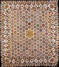 Quilt..hexiequilt. date:19th century..England,, fabric from 1790 to 1820...