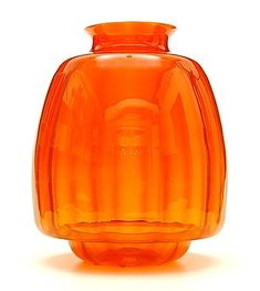 Orange glass vase with vertical layers design A.D.Copier 1928 executed by Glasfabriek Leerdam / the Netherlands
