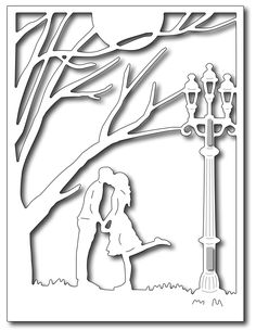 Frantic Stamper Precision Die - Kiss in the Park card panel
