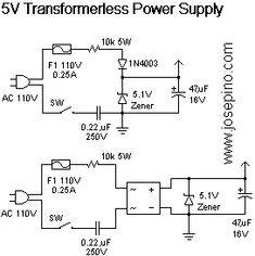 Transformerless Power Supply. - Jose Pino's Projects and Tidbits.