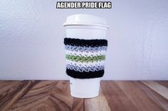 Agender Pride Flag Crochet Coffee Cozy; $13.76Cdn; at Etsy.com