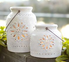 Punched Ceramic Lanterns #potterybarn in BLUE...it is beautiful!