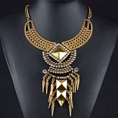 Golden Gem Statement Necklace