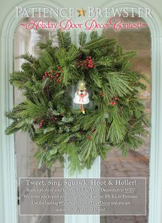 HOLIDAY DOOR DECOR CONTEST! We invite you to post your image to our Twitter, FB, IG, or Pinterest pages. Use the hashtag #PatienceBrewsterDoorDecor and you are automatically entered to win! (*Krinkles/PB ornaments not required to win!*) Prizes will be Gift Certificates for Patience Brewster! First Place: $50 Second Place: $25 Third Place: $15 https://www.facebook.com/pages/Patience-Brewster-Inc/251652921523065 https://twitter.com/pbornaments http://instagram.com/patiencebrewster