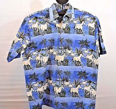 Roper Western Shirt L 100% cotton Short Sleeve Blue w/Running Horses Hawaii #Roper