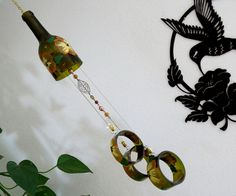 Wine Bottle Windchime, Amber Wind Chime, Orange And Yellow Flowers, Yard Art ,