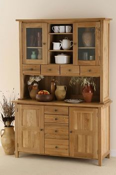 £899, oakfurnitureland,  Natural Solid Oak Welsh Dresser
