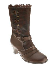 A bold pair of boots is the perfect way to add interest to any ensemble. This ladylike pair feature feminine details, a modest heel and a zip closure for easy on and off. 2'' heel8'' shaft14'' circumferenceZipper closureLeather upper