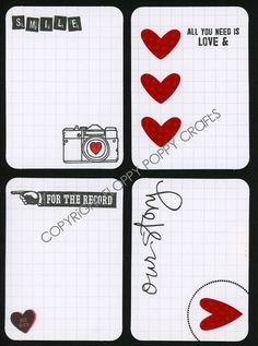 Project Life Inspired Journaling Cards in Red and Black